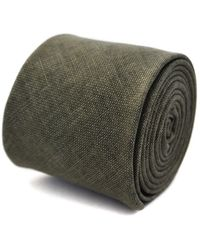 Frederick Thomas Ties Khaki Green Slim Linen Tie