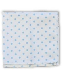 Frederick Thomas Ties White Cotton Pocket Square With Pale Light Blue Polka Spot Design