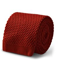 Frederick Thomas Ties Cashmere Burnt Orange Plain Knitted Tie