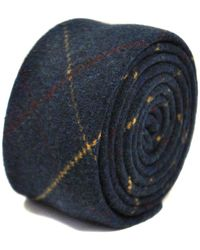 Frederick Thomas Ties Navy Blue, Red And Gold Check Tweed Wool Tie