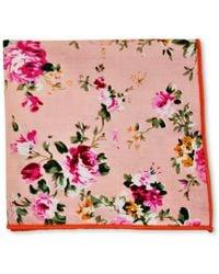 Frederick Thomas Ties Pink Rose Floral Cotton Pocket Square