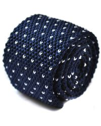 Frederick Thomas Ties Navy Blue Skinny Knitted Tie With White Heart Knit Polka Dots
