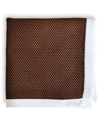Frederick Thomas Ties Chocolate Brown Knitted Pocket Square With White Edging