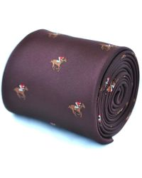 Frederick Thomas Ties Burgundy Maroon Tie With Horse Racing Design - Green