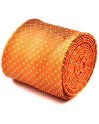 Frederick Thomas Ties Orange And White Pin Spot Tie