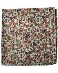 Frederick Thomas Ties Brown Floral Pocket Square