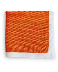 Frederick Thomas Ties Orange Knitted Pocket Square With White Edging