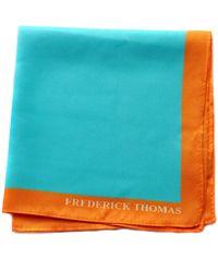 Frederick Thomas Ties Turquoise Pocket Square With Orange Edging - Blue