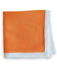 Frederick Thomas Ties Peach Knitted Pocket Square With White Edging - Orange