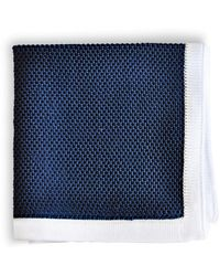 Frederick Thomas Ties Navy Blue Knitted Pocket Square With White Edging