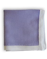 Frederick Thomas Ties Lavender Knitted Pocket Square With White Edging - Purple