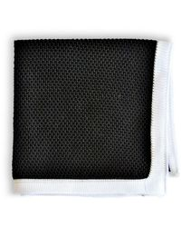 Frederick Thomas Ties Black Knitted Pocket Square With White Edging