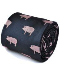 Frederick Thomas Ties Navy Tie With Pig Design - Blue