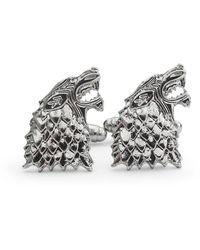 Frederick Thomas Ties Silver Howling Wolf Cufflinks - Gray