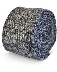 Frederick Thomas Ties - Dark Grey/gray Box Herringbone Tweed Slim Wool Tie - Lyst
