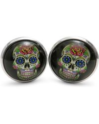 Frederick Thomas Ties Day Of The Dead Skull Round Cufflinks - Black