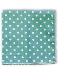Frederick Thomas Ties Sage And White Polka Dot 100% Cotton Pocket Square - Green
