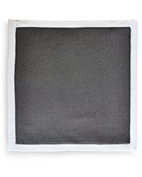 Frederick Thomas Ties Gray Knitted Pocket Square With White Edging