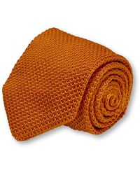Frederick Thomas Ties Burnt Orange Knitted Tie With Pointed End In Standard 8cm Width