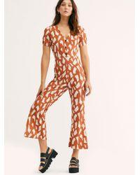 Free People Jacki Jumpsuit By Ellejay - Orange