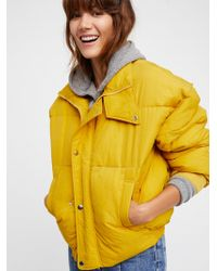 Free People Cold Rush Puffer Coat - Yellow