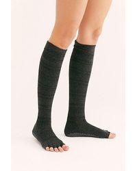 ToeSox Merci Pointelle Stripe Knee Socks - Black