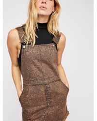 Free People - Torn Up Printed Pinafore Dress - Lyst