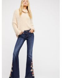Free People - Driftwood Farrah Embroidered Flare Jeans - Lyst