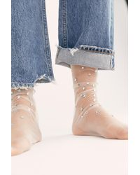 Free People Wish Upon A Star Tulle Socks By High Heel Jungle - White