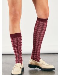 Free People Houndstooth Over-the-knee Socks - Pink