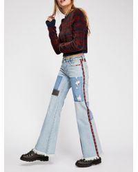 Free People - Plaid Mixed Slim Flare Jeans - Lyst