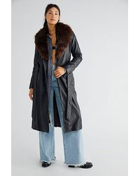 Free People Midnight Train Leather Duster - Blue