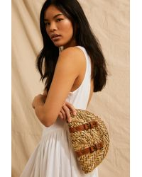 Free People Bomerang Straw Clutch - Natural