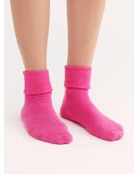 Free People Brat Pack Cuffed Crew Socks - Pink