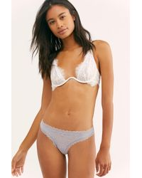 Free People Lace Thong By Intimately - Grey