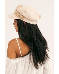 Free People Wildflower Embroidered Lieutenant Hat - White