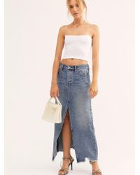 Free People Rhiannon Denim Maxi Skirt - Blue