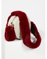Free People Faux Fur Long Bag Strap - Red