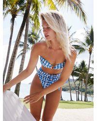 Free People Gingham Tori Bandeau Bikini Top By Montce Swim - Blue