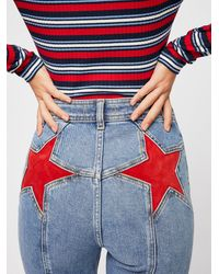 Free People Firecracker Flare Jeans - Red