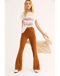 Free People Slim Pull-on Velvet Flare Pants - Multicolor