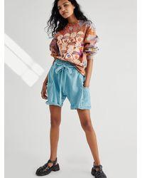 Free People Calla Knit Harem Shorts - Blue