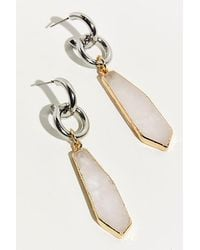 Free People Chains And Raw Stone Drop Earrings - Metallic