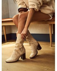 Free People Elle Block Heel Boots - Natural