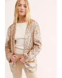 Free People Sequin Blazer By Ranna Gill - Metallic