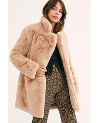 Free People Sophie Faux Fur Coat By Apparis - Natural