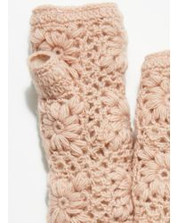 Free People Frosted Flower Crochet Armwarmer - Pink