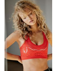 Free People Crochet My Way Sports Bra By Fp Movement - Red