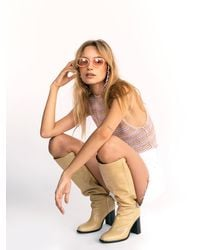 Free People Grayson Tall Boots - Natural