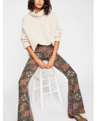 Free People Printed Penny Pull-on Flare Jeans - Gray
